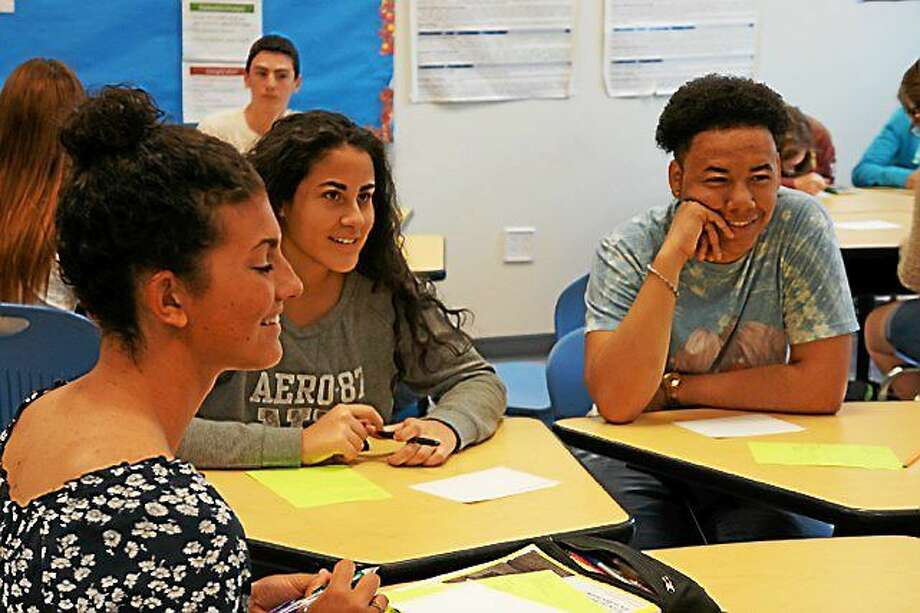 Both high school and Wesleyan University students spoke frankly about cyberbullying and low academic confidence in the age of social media recently in Middletown, each groups learning something from the other. Photo: Courtesy Photo