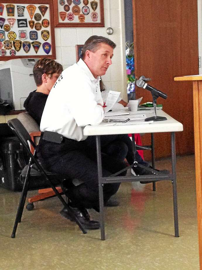 South Fire District Chief Robert Ross addresses concerns about the department's budget at a budget workshop Monday. Photo: Brian Zahn — The Middletown Press