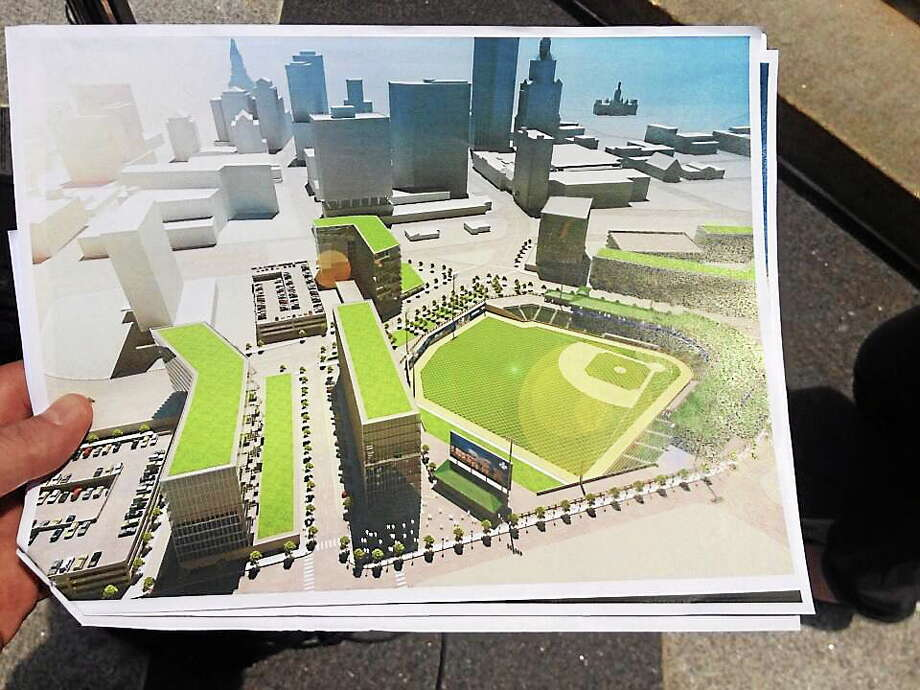 Plans for Hartford's new baseball stadium. Photo: @jeffcohenwnpr Twitter Photo