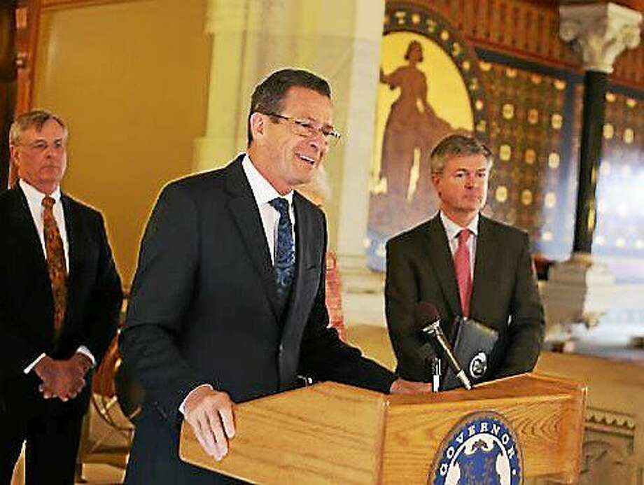Gov. Dannel P. Malloy with former Rep. Cameron Staples and DOT Commissioner James Redeker. Photo: Christine Stuart/CTNewsJunkie