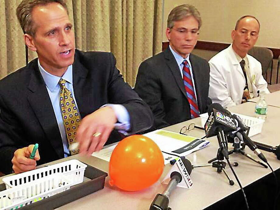 Patrick A. Charmel, president and CEO of Griffin Hospital in Derby, and other health authorities reveal the insulin pen misuse at a press conference in May. Photo: Register File Photo