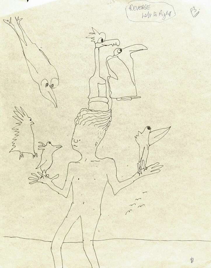 This undated photo provided by Sothebyís shows an untitled ink drawing by John Lennon of a boy and six birds. The drawing is part of an 89-piece collection of Lennonís original whimsical drawings, poems and prose for his books ìIn His Own Writeî and ìA Spaniard in the Worksî that will be auctioned by Sotheby's in New York on Wednesday, June 4, 2014. (AP Photo/Sotheby's, John Lennon) Photo: AP / Sotheby's