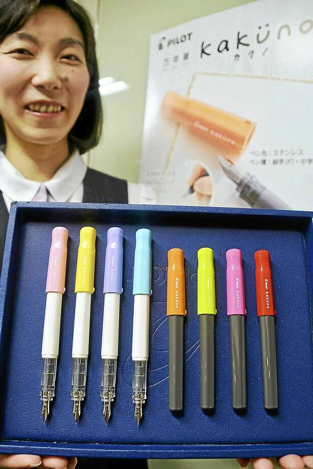 Fountain pens are enjoying new life. Here, Pilot Corp.ís kakuno fountain pens. Photo: The Yomiuri Shimbun  / THE YOMIURI SHIMBUN