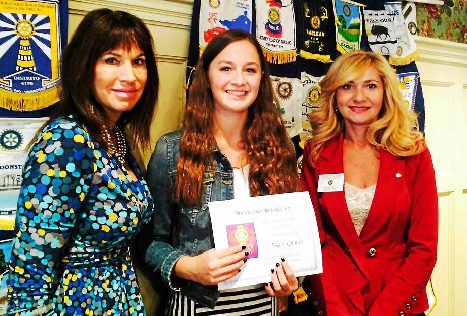 Courtesy photo Photo: Courtesy Photo  Pictured Left Are Middletown Rotarian Judy Hall, Student Of The Month Megan Quinley