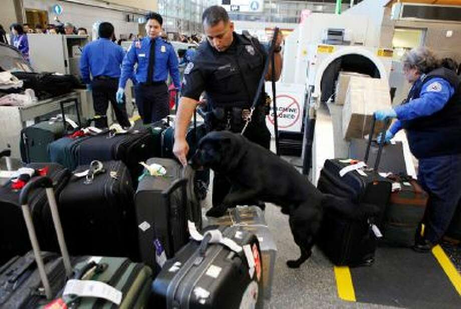 Los Angeles International Airport (LAX) Enforcement Special Unit police officers use a bomb-sniffing dog to check baggage at the Tom Bradley International Terminal in Los Angeles.