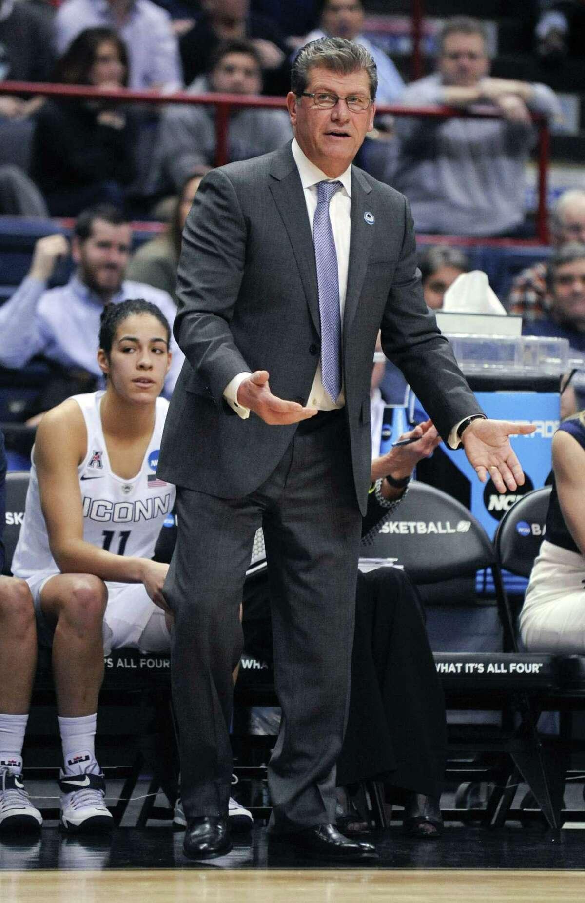 UConn head coach Geno Auriemma won his 100th NCAA tournament game on Saturday.