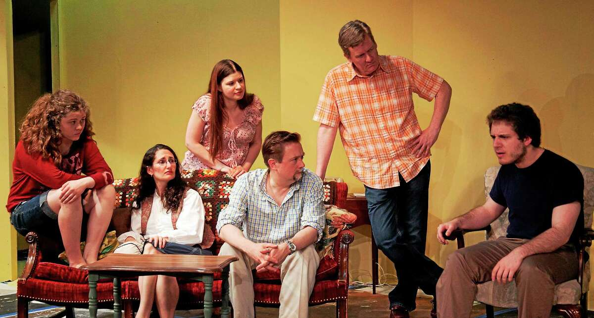 From left, Tess Pepper (Cheshire), Elizabeth Hill Bohmier (Avon), Sally Arlette-Garcia (New Britain), Matthew Skwiot (New Britain), Tom Pepper (Cheshire), and Alexander Levine (West Hartford), in a scene from Fifth of July.