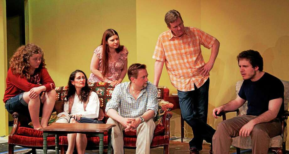 From left, Tess Pepper (Cheshire), Elizabeth Hill Bohmier (Avon),  Sally Arlette-Garcia (New Britain), Matthew Skwiot  (New Britain), Tom Pepper (Cheshire), and Alexander Levine (West Hartford), in a scene from Fifth of July. Photo: Journal Register Co.