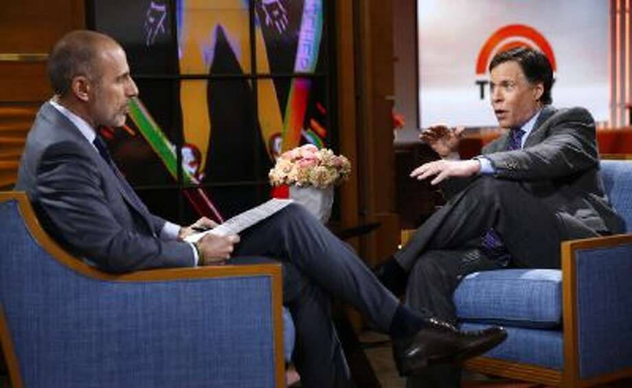 "Matt Lauer (left) and Bob Costas appear on NBC's ""Today"" show in January before the Olympics. Photo: NBCU Photo Bank Via Getty Images / 2014 NBCUniversal Media, LLC."