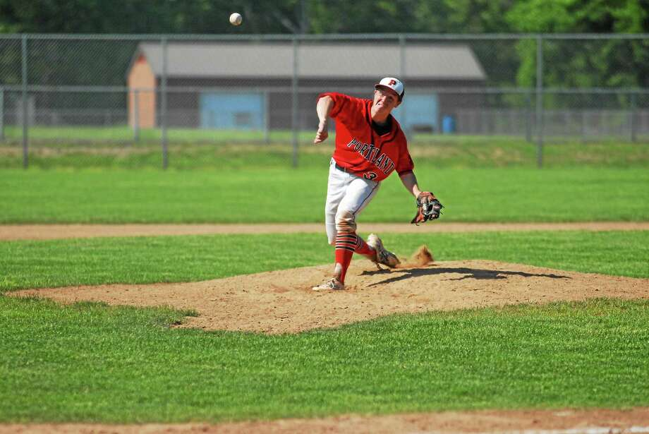 Portland junior Cole Ogorzalek went the distance in the Highlanders' upset win over East Hampton in the Class S tournament. Photo: Jimmy Zanor — Middletown Press