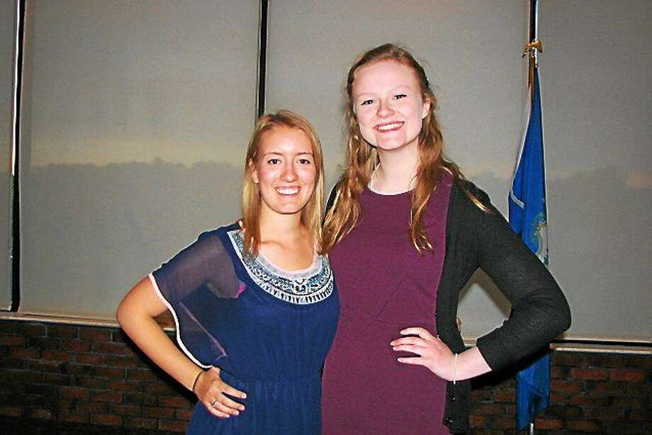 From left are Erin Smith, recipient of the Middletown Rotary Scholarship, and Katherine Connelly,who received the Arthur and Edythe Director Family Rotary Education Award. Photo: Courtesy Photo