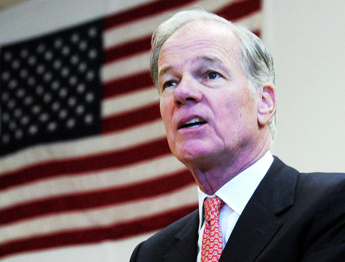 In this file photo, Republican Tom Foley, of Greenwich, announces he will run for governor in 2014 at the Wheeler Young VFW Post 201 in Waterbury.