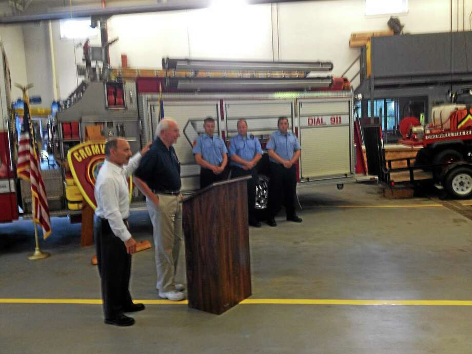 Jeff Mill - The Middletown Press Cromwell Fire swore in news officers on Monday. Photo: Journal Register Co.