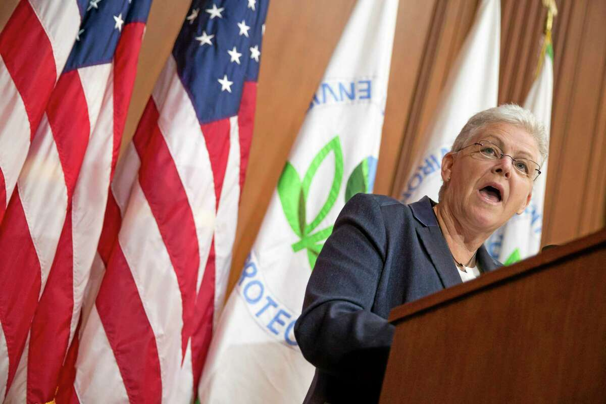 Environmental Protection Agency (EPA) Administrator Gina McCarthy speaks during an announcement of a plan to cut carbon dioxide emissions from power plants by 30 percent by 2030, Monday, June 2, 2014, at EPA headquarters in Washington. In a sweeping initiative to curb pollutants blamed for global warming, the Obama administration unveiled a plan Monday that cuts carbon dioxide emissions from power plants by nearly a third over the next 15 years, but pushes the deadline for some states to comply until long after President Barack Obama leaves office. (AP Photo/ Evan Vucci)