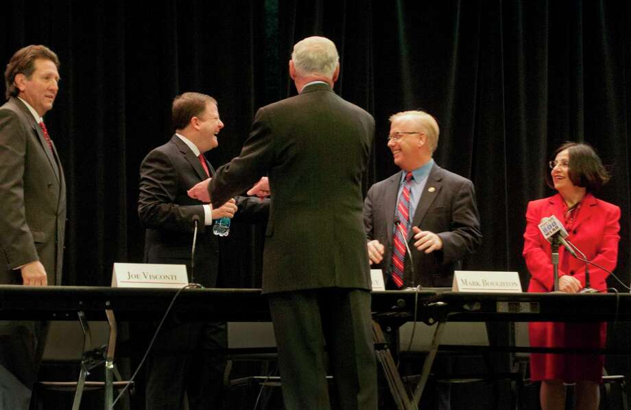 (Melanie Stengel ó Register) GOP Debate  Republican candidates for governor ( Back left to right:) Joe Visconti, ,John McKinney, Mark Boughton, Toni Boucher,  chat with moderator, Fran Collins (front), beffore the debate 2/16. Photo: Journal Register Co. / Melanie Stengel