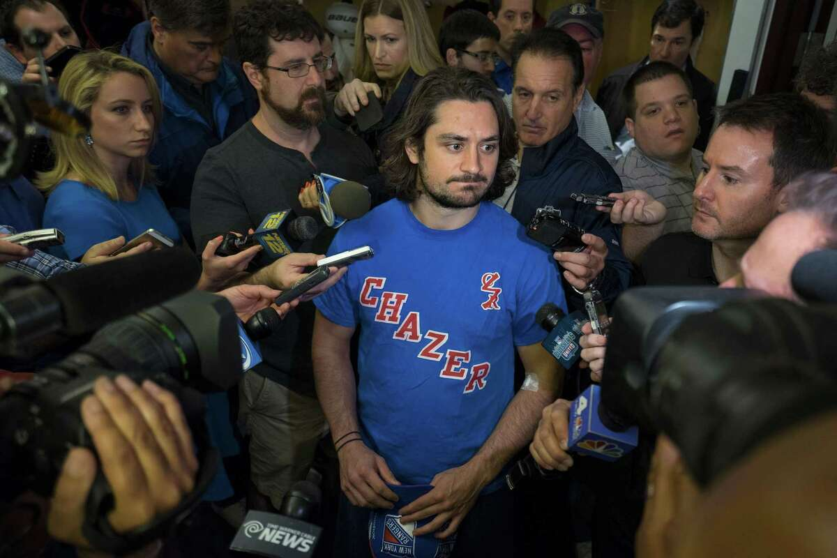 The Rangers' Mats Zuccarello speaks in the locker room at the team's Westchester training facility in Greenburgh, N.Y., on Monday.