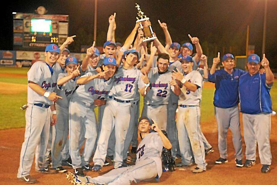 Coginchaug captured the Shoreline Conference championship Saturday night with an epic 4-3 win over Old Lyme in 12 innings at Dodd Stadium. Photo: Photo By Jimmy Zanor--The Middletown Press