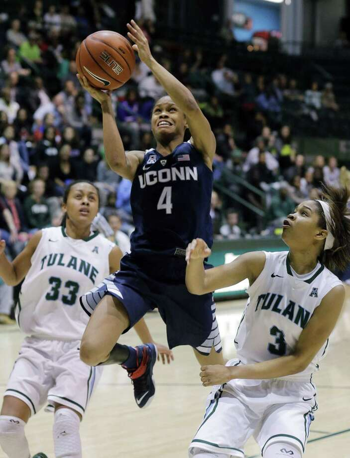 UConn guard Moriah Jefferson (4) goes to the basket during a game earlier this season. Photo: The Associated Press File Photo  / FR170136 AP