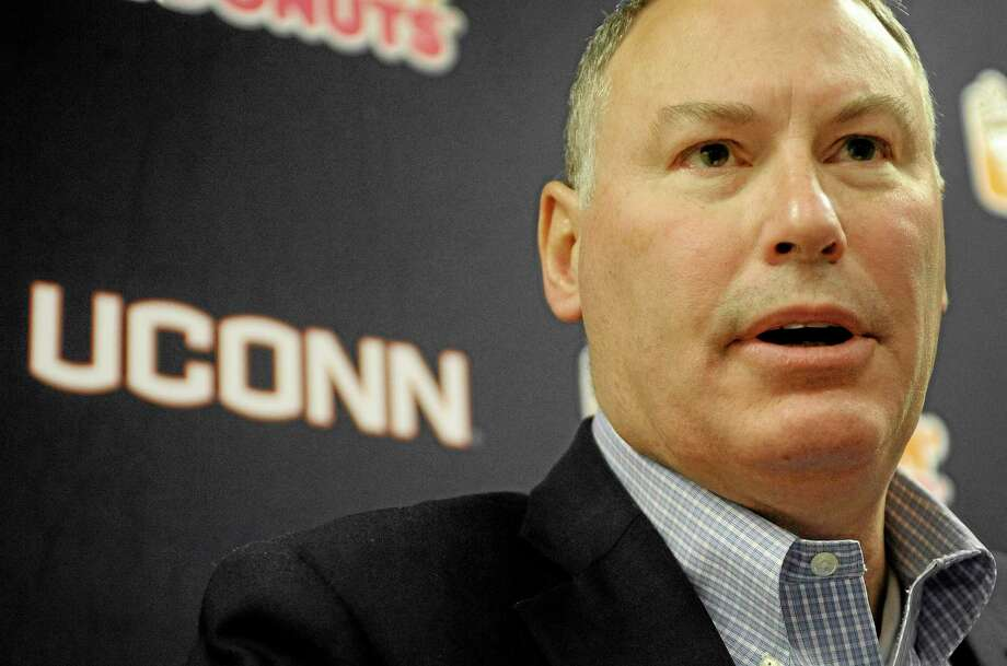 American Athletic Conference commissioner Mike Aresco speaks Saturday during a news conference before the UConn-Memphis gamein Hartford. Photo: Jessica Hill — The Associated Press  / FR125654 AP