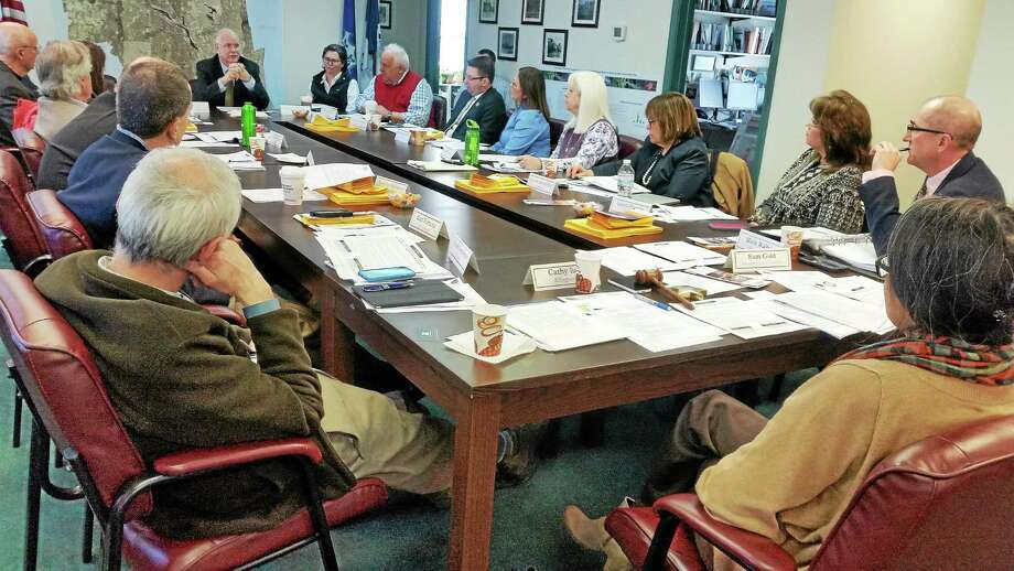 First Selectmen representing 17 towns in the Lower Connecicut River Valley comprise the Council of Governments. State Comptroller Kevin Lembo spoke on Wednesday to COG board members at a meeting in Essex. Photo: (Kathleen Schassler/MiddletownPress)