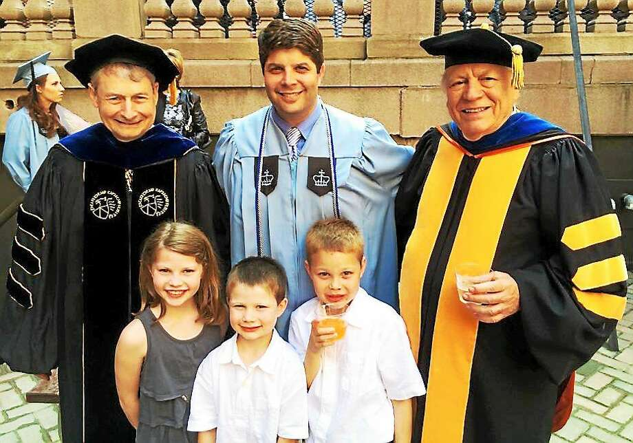 Middletown Mayor Dan Drew recently earned a masters degree from Columbia University in New York. On his left is Professor Bill Pasmore, and at right is W. Warner Burke, his academic advisor. Photo: Courtesy Dan Drew