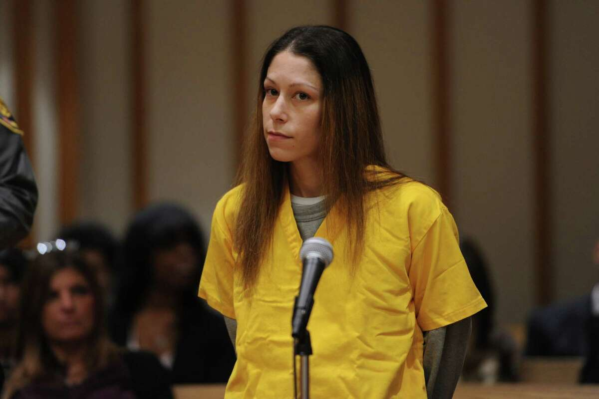 Jennifer Valiante, a girlfriend of Kyle Navin, who is charged with killing his parents, appears at a presentment at the Fairfield County Courthouse in Bridgeport Tuesday. Valiante has pleaded not guilty to conspiracy to commit murder.