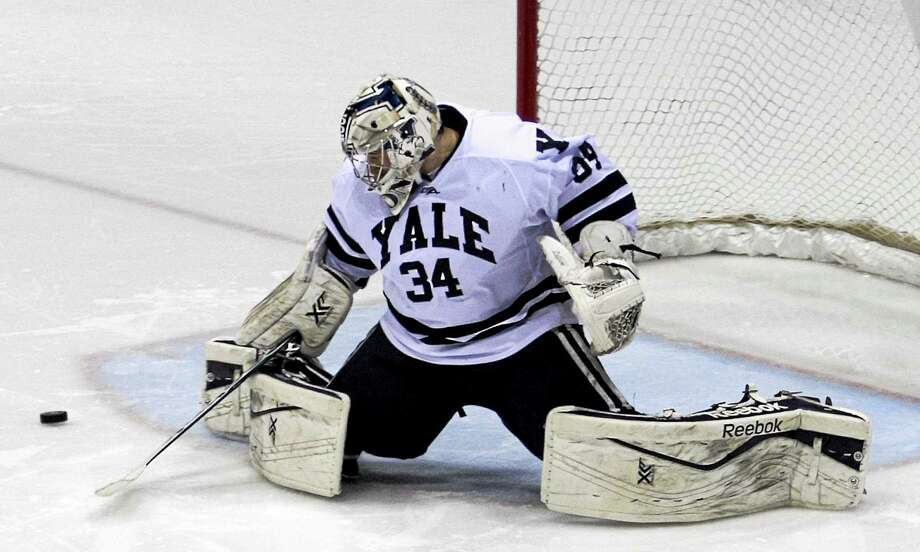 Yale sophomore goalie Alex Lyon will try to stop the nation's top offense when the Bulldogs face off against Boston University Friday in the NCAA East Regional. Photo: Photo Courtesy Of Steve Musco — Yale Athletics  / Steve Musco