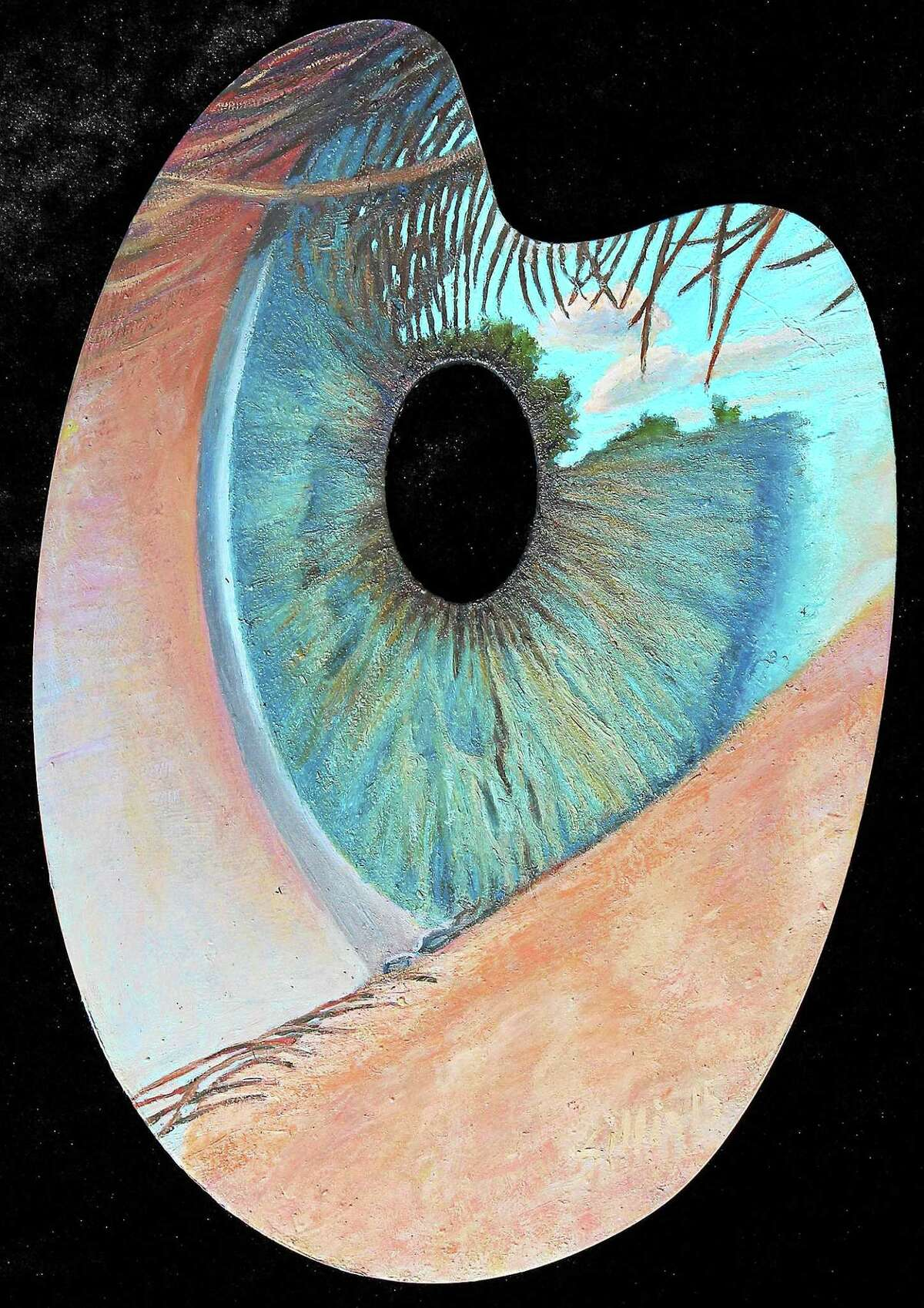 Contributed photo William Sillin, The Eye of the Beholder, 2015, oil on wood palette, Sunderland, MA. The pallettes adorn three trees at the Florence Griswold Museum for its