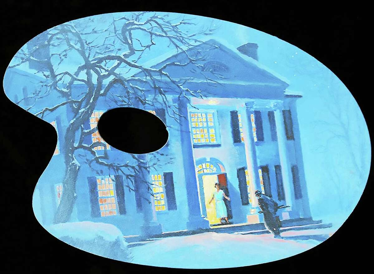 Contributed photo Russ Kramer, Winter Visit, 2015, oil on wood palette, Mystic.The pallettes adorn three trees at the Florence Griswold Museum for its