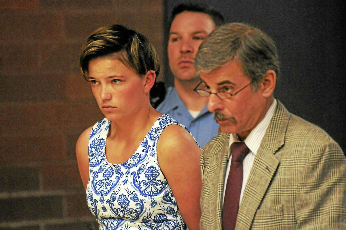 Danielle Shea of Quincy, Mass., appears in court on May 19 with attorney Mark Buebendorf. Shea appeared again June 2 at state Superior Court in Meriden and had her case continued until July 7.