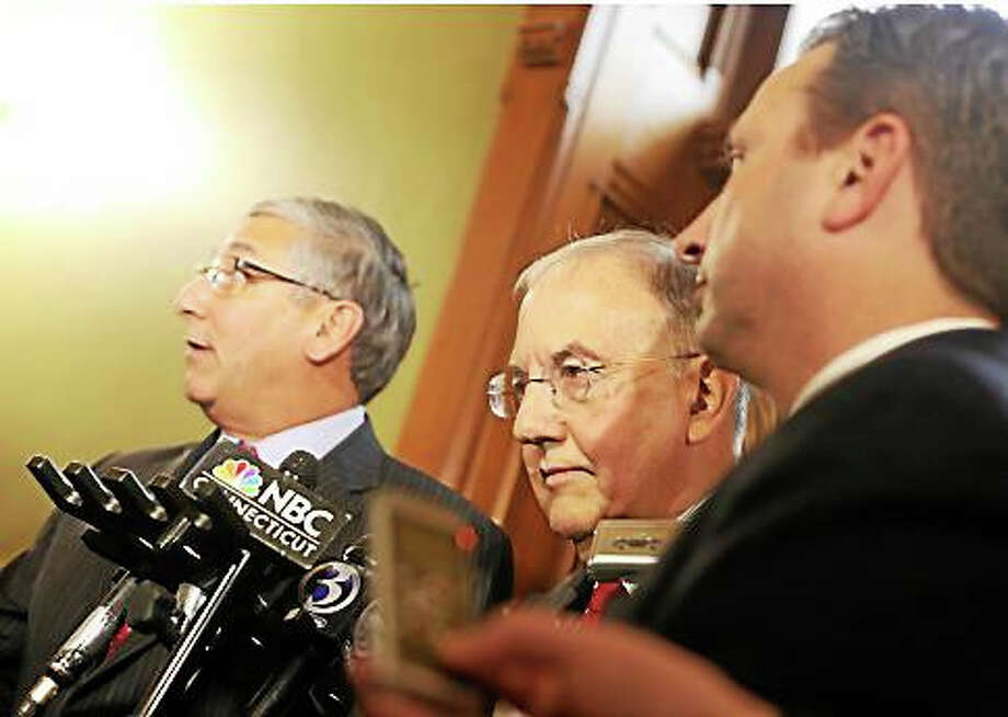 Senate President Martin Looney, D-New Haven, in the center surrounded by Senate Minority Leader Len Fasano, at left, and Senate Majority Leader Bob Duff. Photo: Christine Stuart — Ctnewsjunkie.com