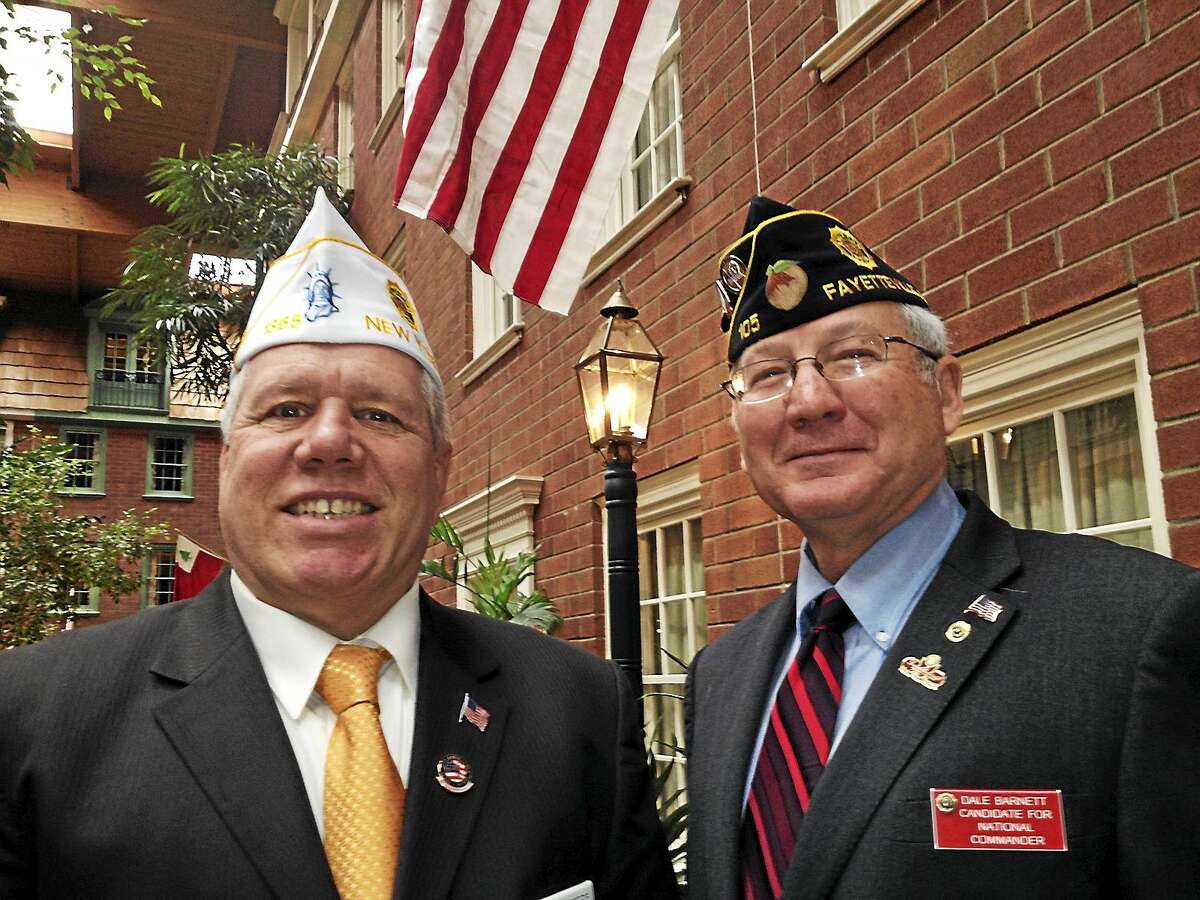 In this archive photograph, New York state American Legion Commander Frank Peters, left, is joined by National American Legion Commander Dale Barnett of Georgia.