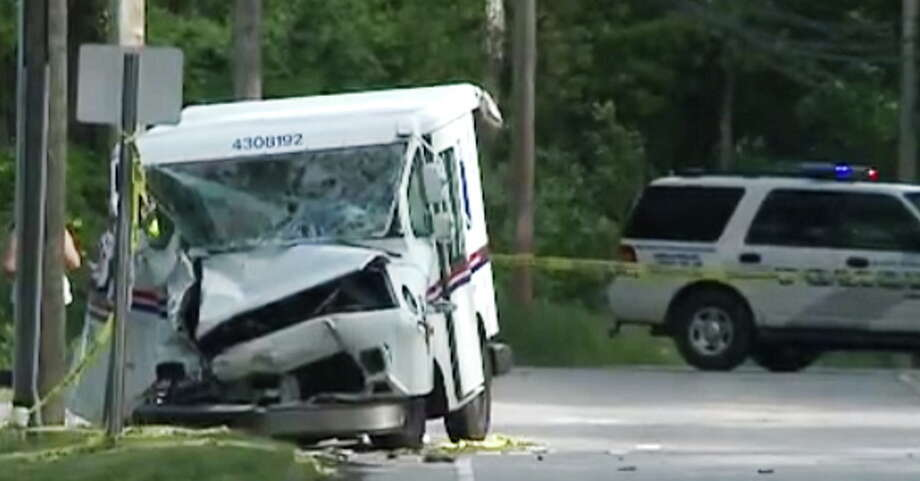 Six people were injured after a mail truck, an SUV and pickup crashed Saturday in East Hampton. (Photo from WTNH-TV) Photo: Journal Register Co.