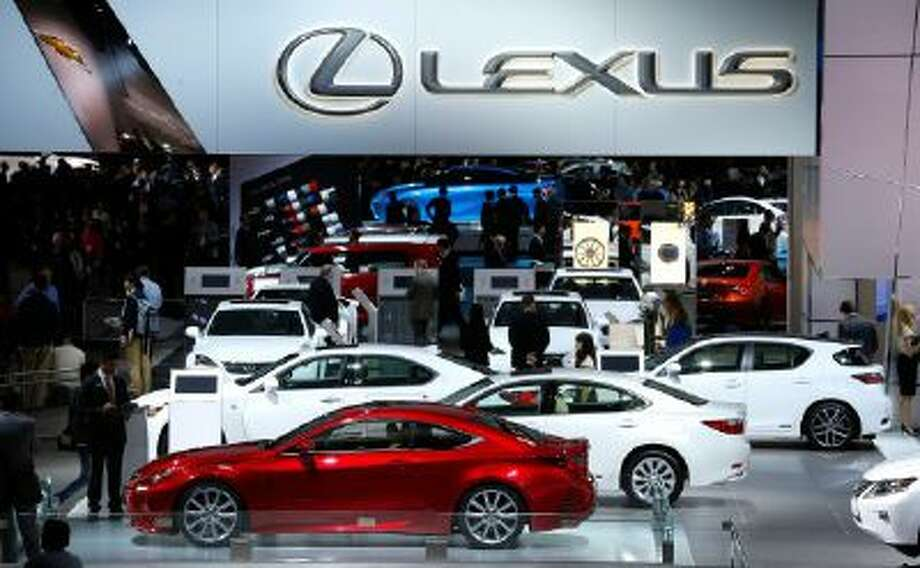 The Lexus exhibit is shown at media previews at the North American International Auto Show in Detroit on Jan. 13, 2014.