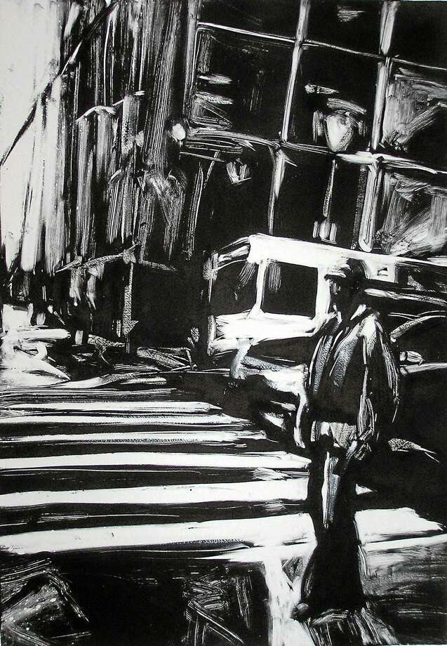 """Contributed photos courtesy of the artists Lisbeth Firmin, """"Man Standing, Downtown Philly"""" 17"""" x 24 1/2"""", monotype, 2009. Firmin's work, and others, will be featured a new show at Chamard Vineyard in Clinton, called American Artists. Photo: Journal Register Co."""
