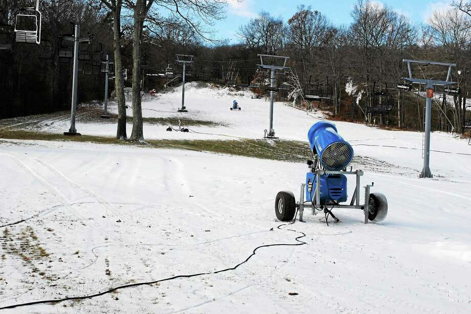 Powder Ridge Mountain Park & Resort in Middlefield has started making snow and is planning to have the jib area open by Friday, Nov. 28. Photo: Viktoria Sundqvist — The Middletown Press