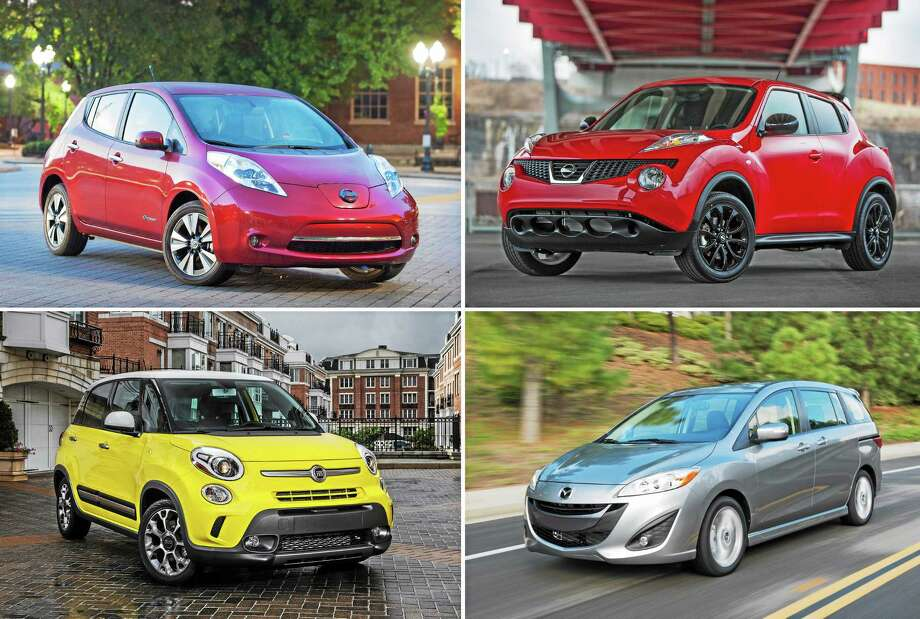 This combination made with photos provided by Nissan, Mazda and Fiat shows, clockwise from top left: the 2014 Nissan Leaf, the 2014 Nissan Juke, the 2014 Mazda5 wagon, and the 2014 Fiat 500L. These four vehicles fared worst in frontal crash tests performed by the Insurance Institute for Highway Safety, an Arlington, Va.-based safety group thatís funded by insurers. Photo: AP Photo  / Nissan/Fiat/Mazda