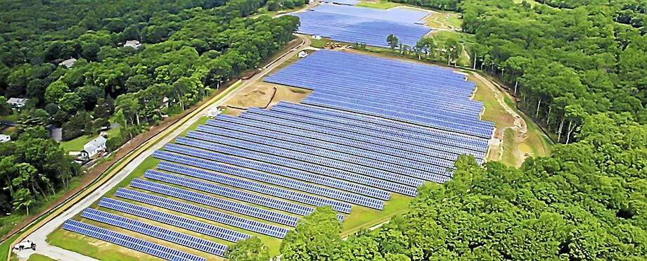 Greenskies installed this project, located at 40 Grassy Hill Road, in East Lyme. The Antares Solar Field sits on 40 acres and produces 5 MW of electricity — enough to power 1,000 New England homes. Photo: Courtesy Greenskies Renewable Energy LLC