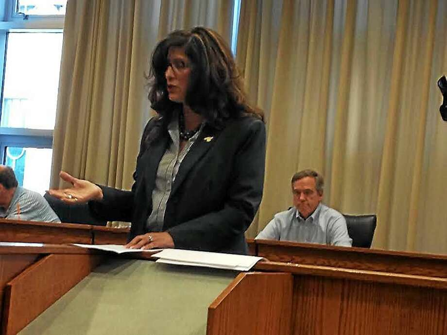 Sandra Russo-Driska, Republican candidate for Middletown mayor, accepts her party's endorsement Monday evening in Council Chambers. Photo: Brian Zahn — The Middletown Press