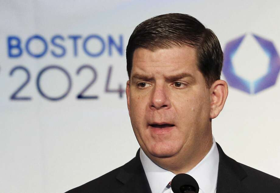 In this Jan. 9, 2015 photo, Boston Mayor Martin Walsh speaks during a news conference in Boston after the city was picked by the USOC as its bid city for the 2024 Olympic Summer Games. Photo: AP Photo/Winslow Townson, File  / FR170221 AP