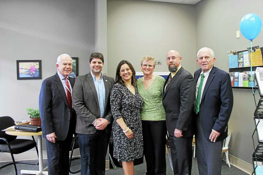 From left, Adelbrook CEO Garry Mullaney, Middletown Mayor Dan Drew, Cathy Burns of Adelbrook Transition Academy II, Erica Zapatka of Adelbrook's Sense-Able Solutions, Chamber Central Business Bureau Chairman Phil Ouellette and Chamber President Larry McHugh. Photo: Contributed Photo