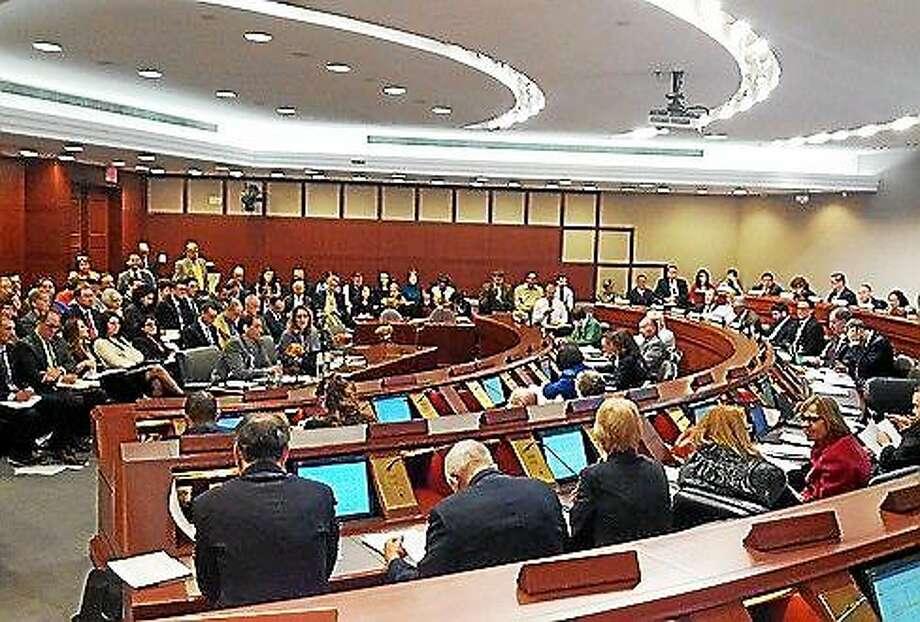 Lawmakers during a budget hearing Photo: (Hugh Mcquaid — Ctnewsjunkie.com)