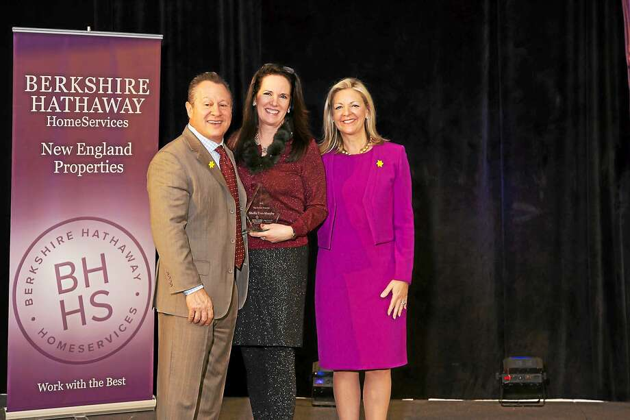 Contributed photos Berkshire Hathaway HomeServices New England Properties celebrated its top producers at a recent breakfast meeting in Plantsville. Above, from left, are Gina Blefari, Sheila Tinn-Murphy and president and CEO Candace Adams. Photo: Journal Register Co. / Miceli Productions, LLC