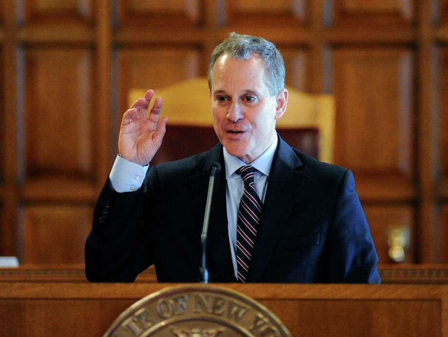 In this May 5 file photo, New York State Attorney Eric Schneiderman speaks during a Law Day event at the Court of Appeals in Albany. Photo: Hans Pennink — The Associated Press File Photo  / FR58980 AP