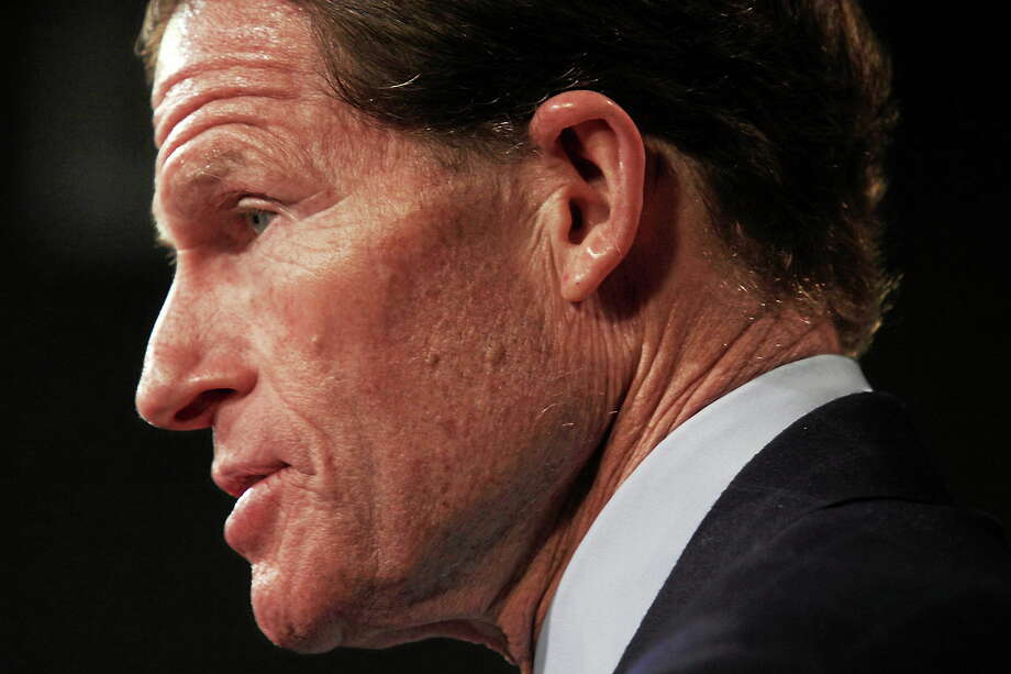 Sen. Richard Blumenthal, D-Conn., speaks during a news conference on Capitol Hill on April 8, 2014 to discuss the Paycheck Fairness Act . (AP Photo/Lauren Victoria Burke) Photo: AP / FR132934 AP