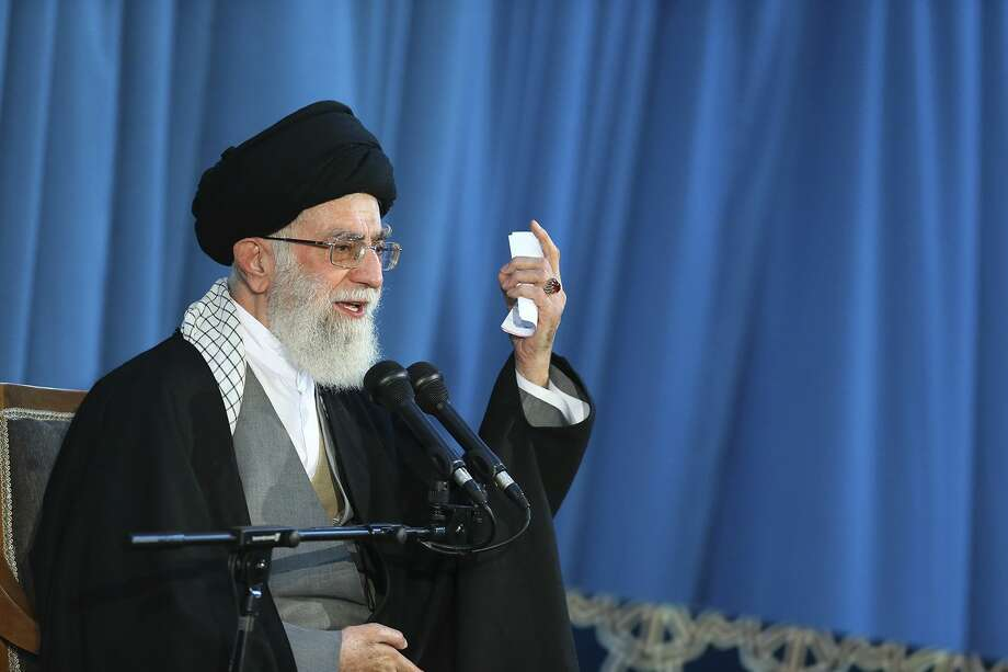 In this picture released by an official website of the office of the Iranian supreme leader, Supreme Leader Ayatollah Ali Khamenei delivers a speech in a public gathering in the city of Mashhad, northeastern Iran, Saturday, March 21, 2015. (AP Photo/Office of the Iranian Supreme Leader) Photo: AP / Office of the Iranian Supreme Leader