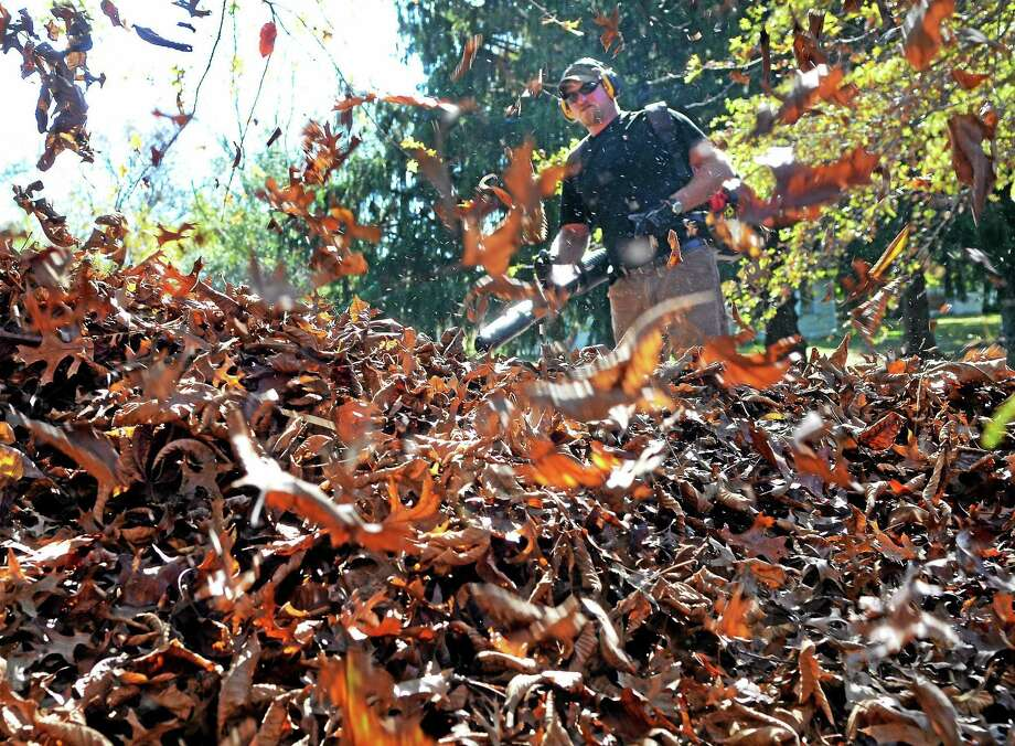 By rake or by blower, moving fallen leaves to the curb should be already completed by residents to allow swift collection efforts this week in Cromwell. Photo: File