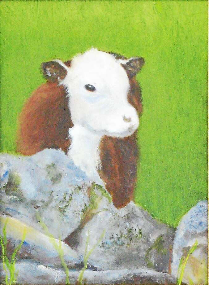 "Image courtesy of the artist J. Watson's ""Moo"" is part of Maple & Main's holiday art show. Photo: Journal Register Co."