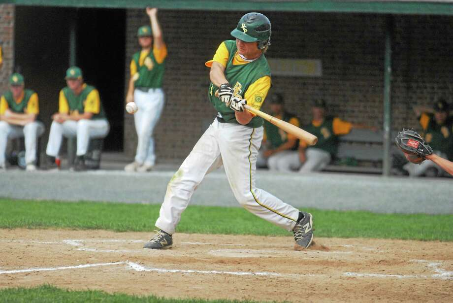 RCP second baseman Cory Baldwin went 4-for-4 with a double, triple and two RBIs in Post 105's 7-2 win over Simsbury on Sunday night at Muzzy Field. Photo: Jimmy Zanor — Middletown Press