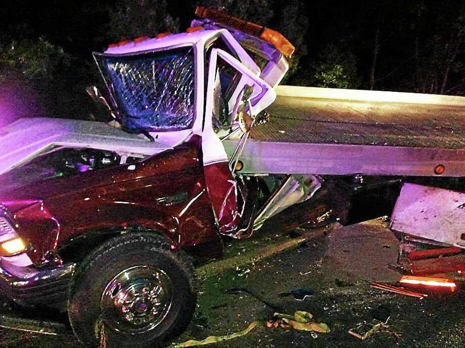 courtesy Old Saybrook Fire Department  Emergency crews were on the scene of a crash involving two tractor-trailers early Monday morning. The accident closed part of Interstate 95 northbound in Old Saybrook. Photo: Journal Register Co.